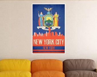 New York City State Flag Skylines Poster Print