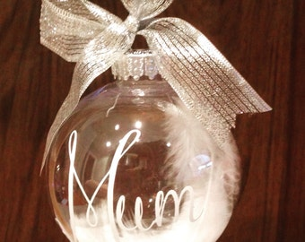 Memorial bauble, personalised bauble, feather bauble, in memory decoration, name ornament, memorial ornament, mum memorial, baby memorial