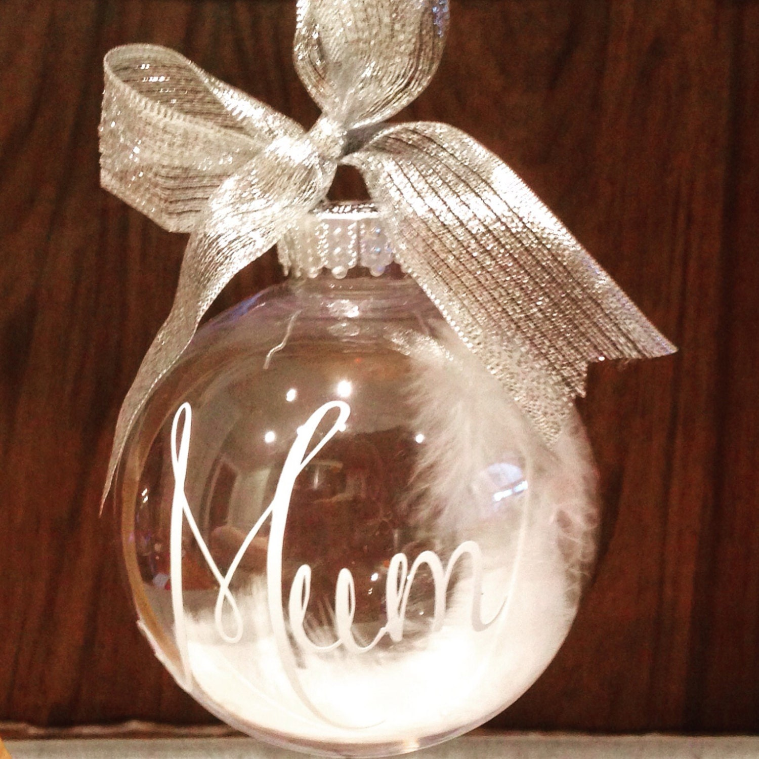 Memorial bauble personalised bauble feather bauble in