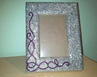 Silver and Purple Handmade Crystallised Picture Frame
