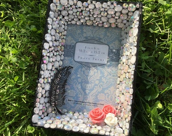 Embellished Wall Hanging Picture Frame: Rhinestone, Gemstone, Iridescent, Roses, Pink, Feather 4x6
