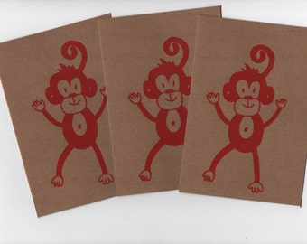 Happy Monkey Dance , Blank Card