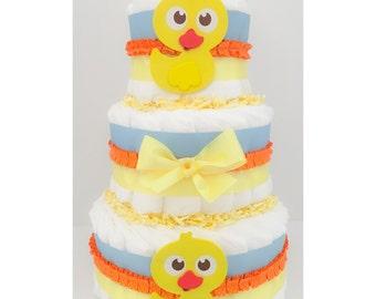 Diaper Cake - Duck Diaper Cake - Duck Baby Shower - Duck Centerpiece - Duck Baby Gift