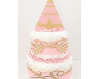 Diaper Cake - Tribal Diaper Cake - Aztec Diaper Cake - Tribal Baby Shower - Aztec Baby Shower - Baby Girl Diaper Cake