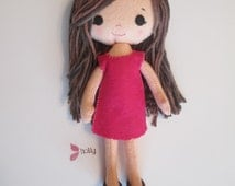 FREE U.S. SHIPPNG! Adorable wool felt dress up doll with raspberry (hot) pink dress and brown cotton yarn hair