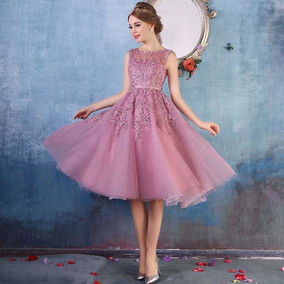 Pink embroidered prom dress pink tulle dress beaded bridal dress