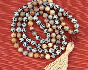 Dalmatian Jasper and Crazy Lace Agate Mala