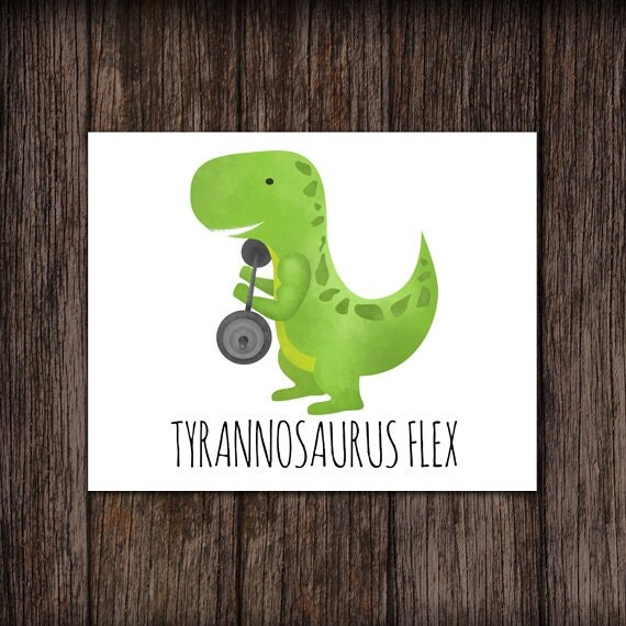 Tyrannosaurus Flex Funny Digital 8x10 Printable Poster T-Flex