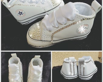 Baby Bling Converse Crib Shoes with Swarovski Crystals on Toe and Trim