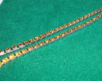 Vintage amber rhinestone necklace (choker)
