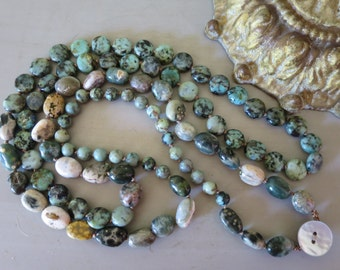 Long semi precious layering necklace, Ocean Jasper nuggets, African Turquoise beads, Boho chic, Bohemian, 2X necklace.