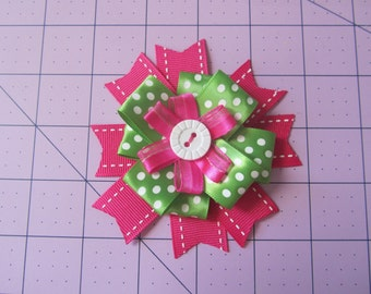 Perfect Pink Button Bow