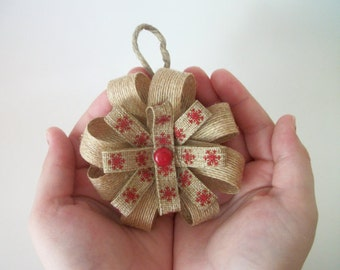 Rustic Burlap Bow Ornaments, Set of 3, Handmade Burlap Christmas Ornaments, Rustic Gift Tags, Christmas Gifts, Gift Bows