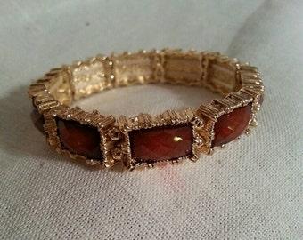 Burgundy Gold stretch bracelet