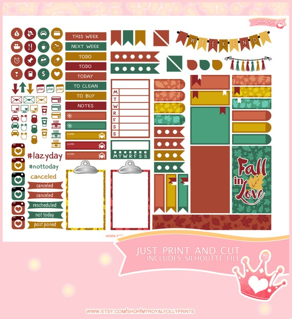 Fall Colors | Printable Planner Stickers | Happy Planner | Instant Digital Download with Silhouette file