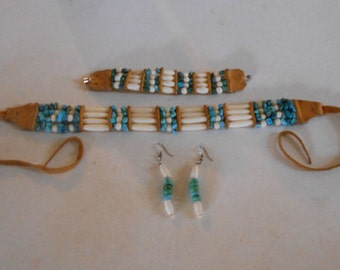 Native American style choker,bracelet,earrings