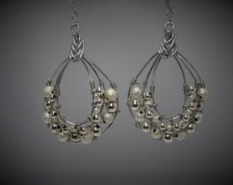 Large Silver Hoop Dangle Earrings