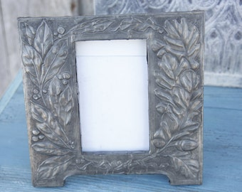 1940's Pewter Picture Frame/Picture Frame with Embossed Leaves/Pewter Picture Frame/Leaf Picture Frame/Deco Wooden Picture Frame.
