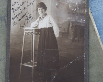 1918 French Parisian Victorian Lady Photograph/ French Photograph with written Message of Love/Art Nouveau Parisian Photograph