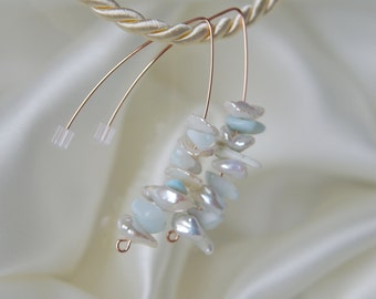 Keshi pearls Larimar rose gold GF earrings of keshi pearls Larimar earrings