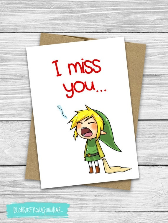 I Miss You Cute Boyfriend Card Valentines Day – Legend of Zelda Valentine Card