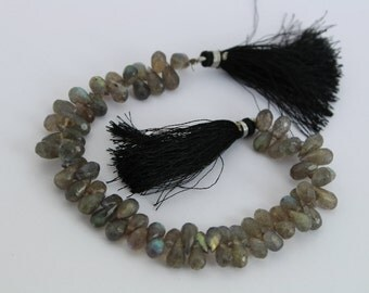 "8""  6x7-7x10 mm 69pcs Natural Labradorite Faceted Teardrop Briolettes Beads Semiprecious Gemstone Briolette Beads LAB15"