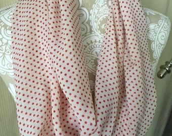 Twisted Infinity scarf - Ivory with tomato red polka dots