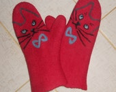 Felted mittens  Red mittens Warm mittens Wool mittens Cat Merino wool Gloves Red cat Winter mittens  Valentine gift idea Gift for wife