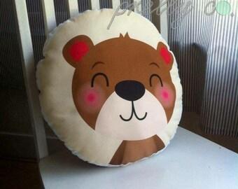 Round decorative themed nursery pillow, nursery decor, bear pillow, koala bear pillow, nursery cushion