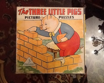 The Three Little Pigs 1941 set of 3 jigsaw puzzles