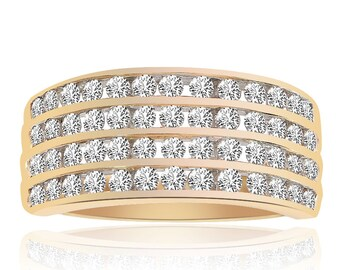 0.75 Carat Round Cut Brilliant Diamond Wedding Band 14K Yellow Gold