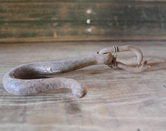 Large vintage metal industrial hook