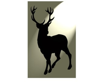 Shabby Chic Stencil Stag Deer Rustic Mylar . Vintage A4 297x210mm furniture wall