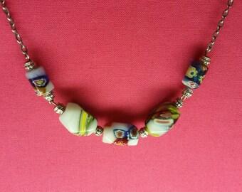 Multi Colored Stones on Silver Chain