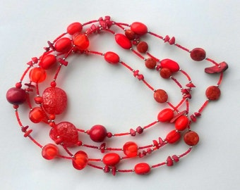 Beaded necklace,  Valentine's necklace, mixed media necklace, multistrand necklace, red necklace
