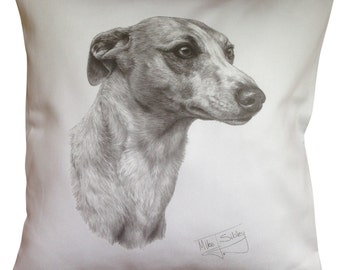 Whippet MS Cotton Cushion Cover - Cream or White Cover - Gift Item