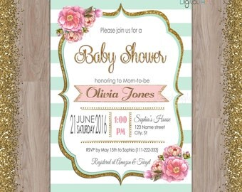 Mint baby shower invitation, mint gold baby shower invitation, mint invitations, baby shower invitations mint gold, mint, gold, pink, invite