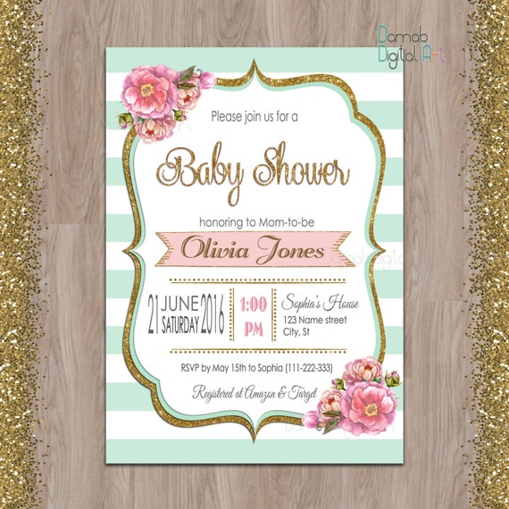 mint baby shower invitation mint gold baby shower invitation mint