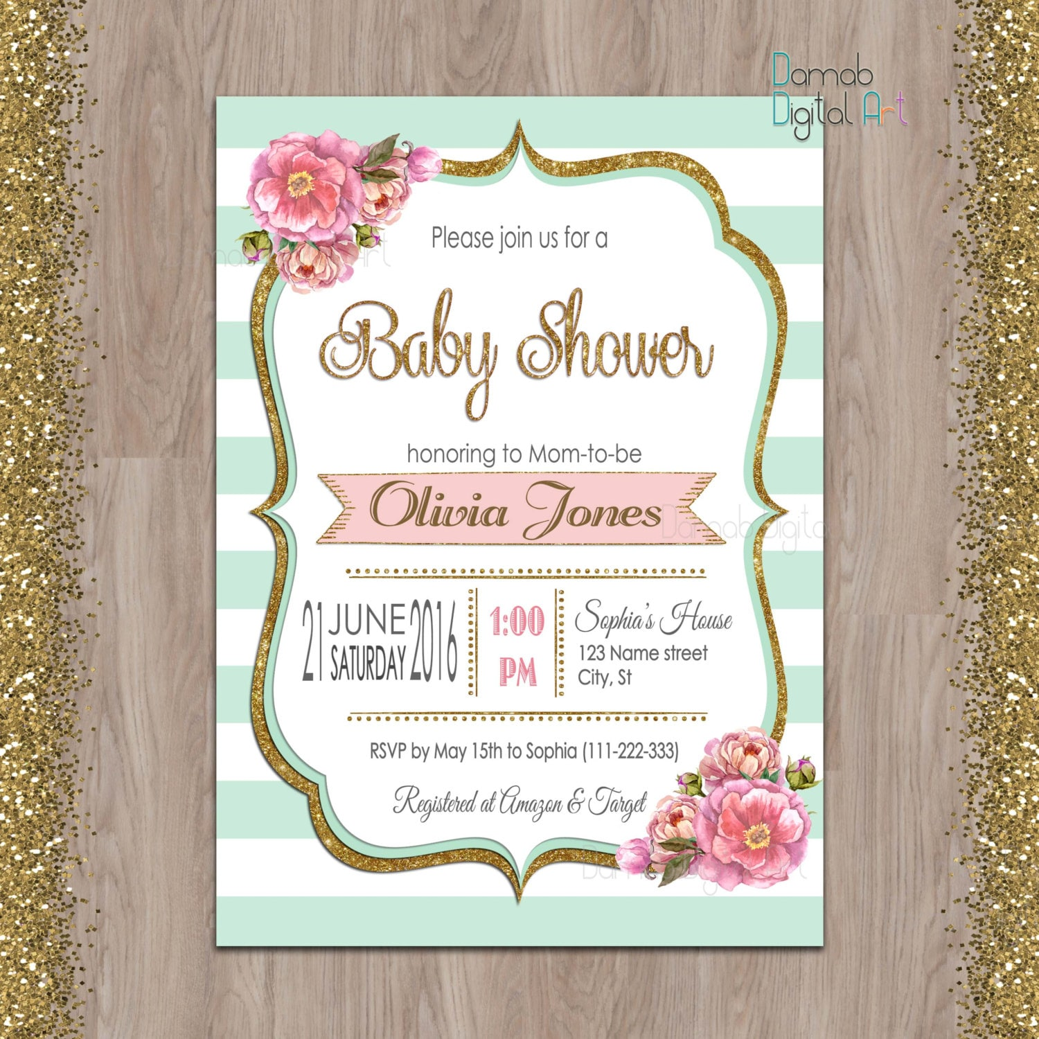 mint baby shower invitation mint gold baby shower invitation
