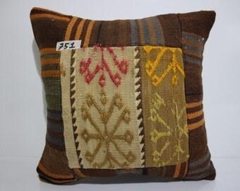 kilim patchwork pillow cover 16x16 pathcwork kilim cushion cover vintage kilim pillow cover throw pillow flat woven cushion cover SP4040-751