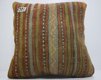 15x15 striped kilim pillow 15x15 vintage Turkish kilim pillow couch pillow cushion cover decorative kilim pillows SP4040-981