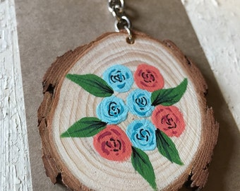 Teacher Gift, Hand Painted Wooden Keyring, Keychain, Hand Painted Flowers, Vintage Floral, Bag Charm, Painted Wood Slice, Gifts For Her