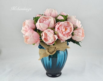 Pink Peony Real Touch Flowers Wedding Centerpieces in Vase Bridesmaid Bouquets Silk Wedding Bouquets