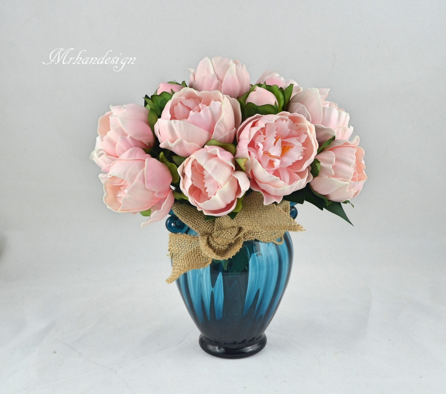 Pink Peony Real Touch Flowers Wedding Centerpieces in Vase