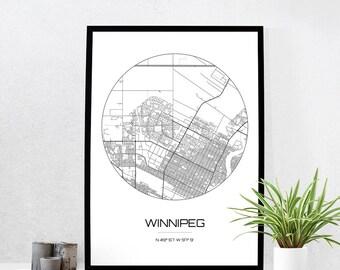 Winnipeg Map Etsy