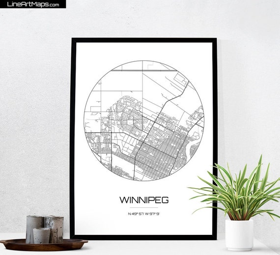 Winnipeg map print city map art of winnipeg canada poster for Interior decor winnipeg