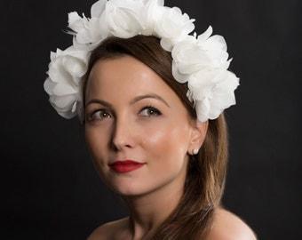 Bridal headband, bridal millinery, romantic wedding headband, flower bridal headband, flower headband