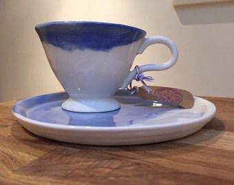 Handmade Porcelain 'Penelope' Cup in Denim Blue or Sage Green, on White