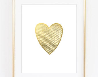 Gold Heart Printable Art Print, Gold Crosshatched Heart, Gold Heart, Gold Heart Printable, Gold Wall Art, Gold Nursery Decor, Girls Room Art