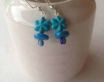 Tiny Turquoise Flower Bead Earrings